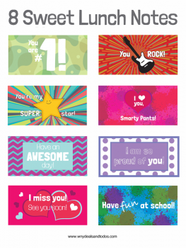 8 sweet printable lunch notes