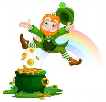 leprechaun jumping for joy