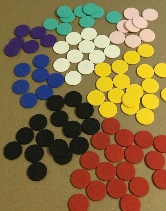 painted pogs in various colors