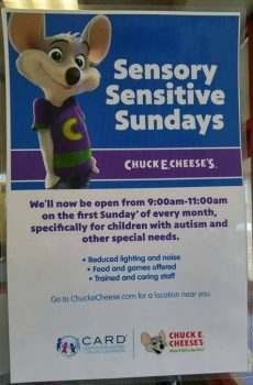 sensory sundays chuck e cheese