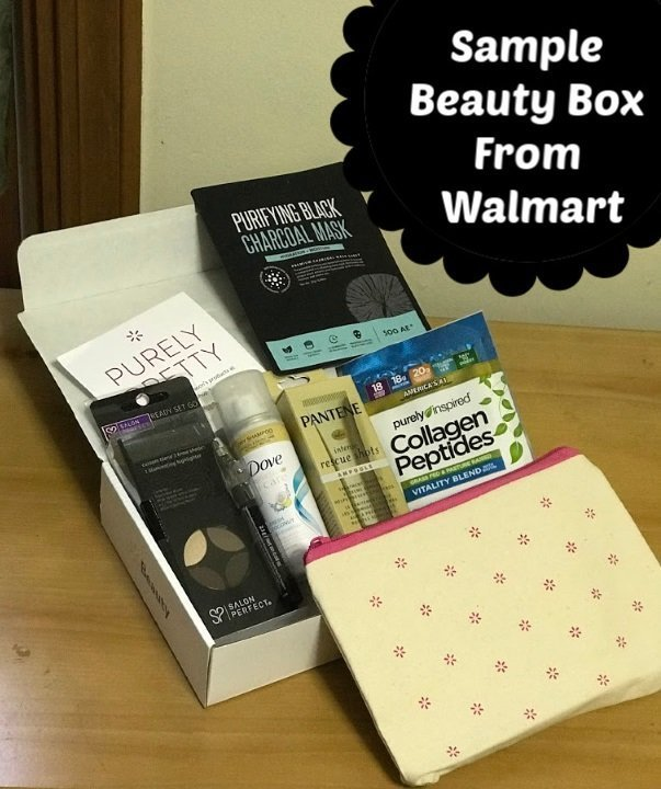 Walmart Subscription Beauty Box on table from Summer 2019