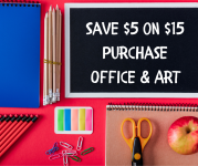 Save $5 on $15 Purchase Office & Art