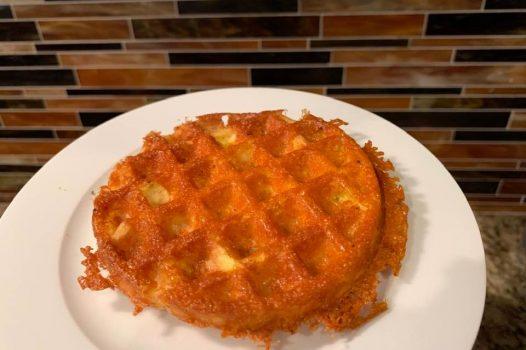 keto chaffle made on plate