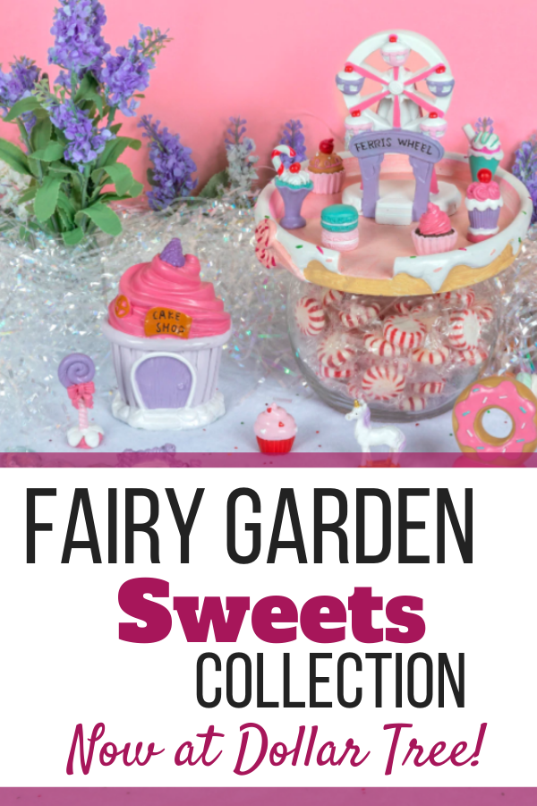 The newest fairy garden set is now available at Dollar Tree and it is sweet! Grab the Sweets Fairy collection to get ready for your 2021 garden!