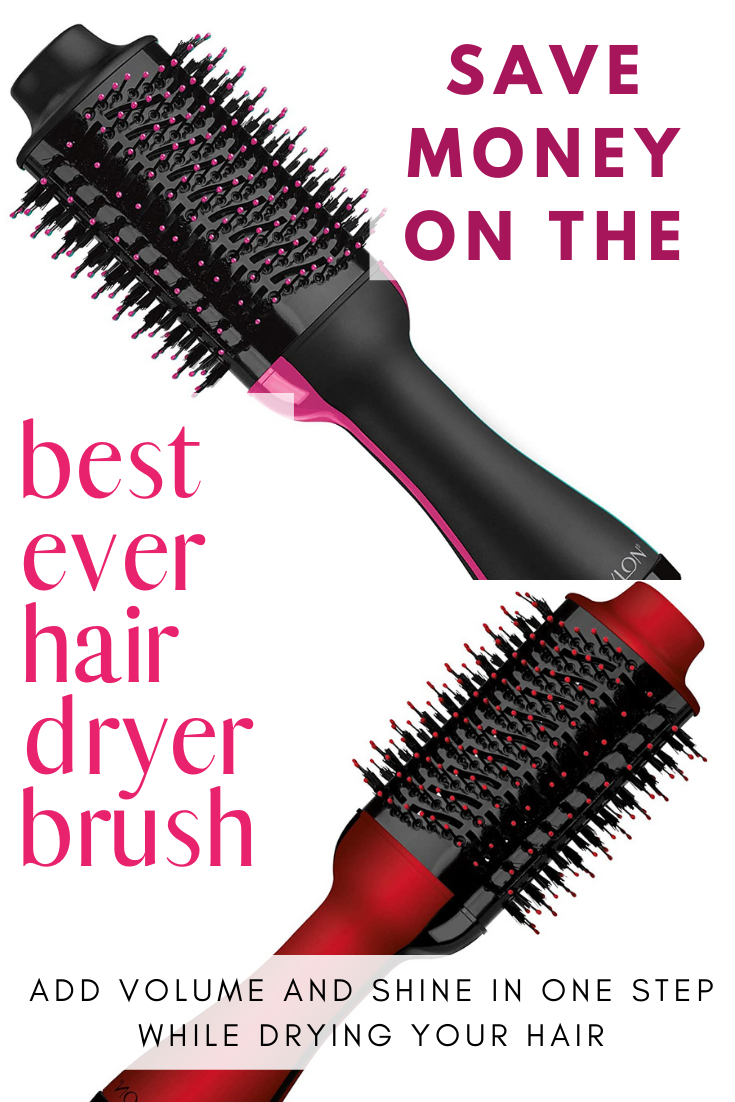 This hair dryer brush delivers gorgeous volume and brilliant shine all in one single step. It has a unique oval brush designed for smoothing hair, while its round edges help create volume.  Even better, for a limited time save $10 or $20 on it! #hair #beauty #hairdryer #hairbrush #brush #revlon #beautydeals #haircare