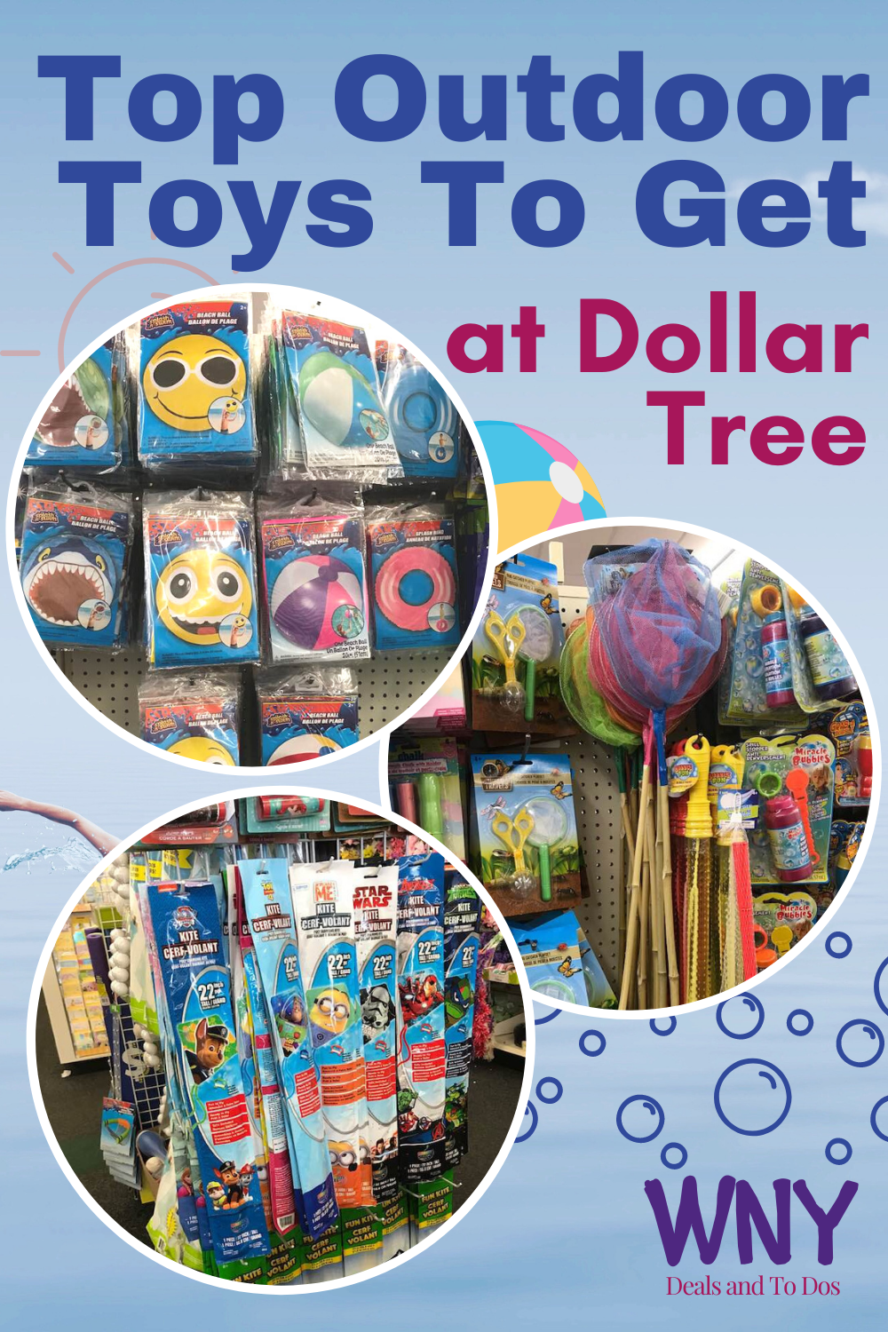 With nicer weather upon us, your children will hopefully be spending more time outdoors!  Here are some of my top outdoor toys to pick up next time you are at Dollar Tree!