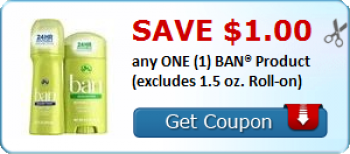 Ban Deodorant Coupon + Store Deals