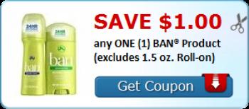 Ban Deodorant Coupon + Store Deals
