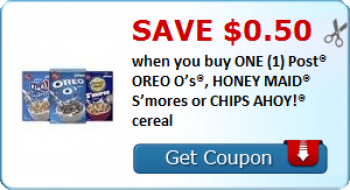 Post® OREO O's®, HONEY MAID® S'mores or CHIPS AHOY!® cereal coupon