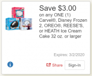 Carvel Ice Cream Cake Just $4.99 with a triple stack!