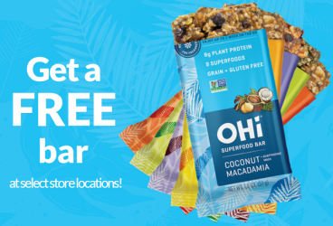 FREE OHi Superfood Bar at Wegmans, Dash's or Feel Rite