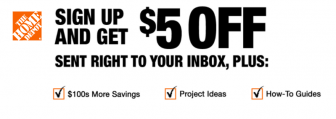Home Depot Coupons Save 10% + $5 Off