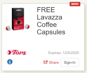 Free Lavazza Coffee Caps With Digital Coupon @ Tops *BACK AGAIN*