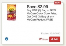 Tops Markets BOGO McCain Fries