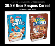 Rice Krispies Cereal $0.99 w/coupon at Tops (starting 1/19)