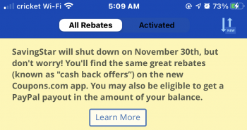 How to cash out of Savingstar before November 30th Shutdown