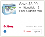Stonyfield Organic Milk Singles Just $0.58 each at Tops with ecoupon