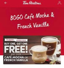 Tim Hortons BOGO Cafe Mocha or French Vanilla Drinks (Tims Rewards members)